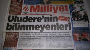 Front page of Milliyet, Monday 16 February 2015